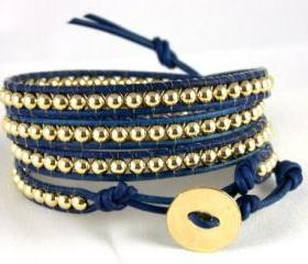 Leather Wrap Bracelet , 14K Gold Bracelet, Any Size, Any Color, Unique Bracelet, Christmas Gift Idea, Free Shipping Worldwide
