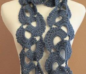 Crochet Scarf Chunky Queen Annes Lace Blue