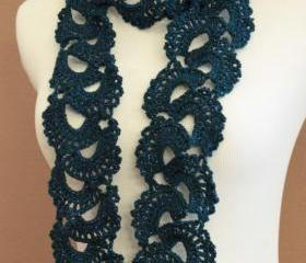 Teal Crochet Scarf Queen Annes Sparkle Lace