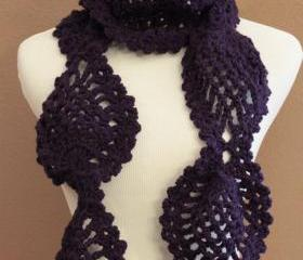 Crochet Scarf Chunky Lace Pineapple Motif Plum Purple