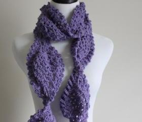 Chunky Crochet Scarf Lace Pineapple Motif Neck Warmer Lavender Purple