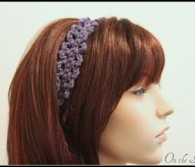 Crochet Headband Purple Hair Tie