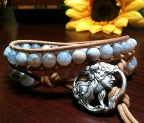 Blue Lace Agate Leather Wrap Energy Bracelet