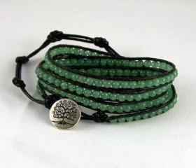 Aventurine Leather Wrap Energy Bracelet, Tree of Life closure Bracelet, Energy Jewelry, Unique Jewelry, Chrismas Gift Idea, Free Shipping