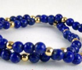 Lapis Gemstone Stretch Bracelet Set with 14K Gold Accent Beads, Great Gift Ideas, Free Shipping