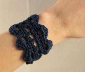 Crochet Bracelet Lace Cuff Navy Blue