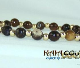 Natural Agate Gemstone Bracelet with 14K Gold Filled Accent beads.