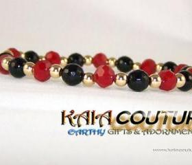 Carnelian and Onyx Gemstone Bracelet with 14K Gold Filled accent beads