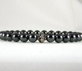 Reliability Hematite Energy Bracelet with Yogi Accent Bead, Meditation Bracelet, Yoga Bracelet, Free Shipping