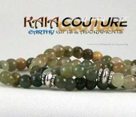 Aventurine Gemstone Energy Bracelet SET with Yogi accent beads