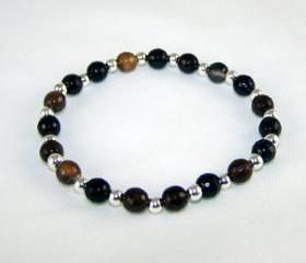 Protecting Natural Agate Gemstone Bracelet with Sterling Silver Accent beads, Great Gift Ideas, Free Shipping