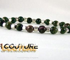 Calmimg Jasper Energy Bracelet with Pewter Accent Beads,