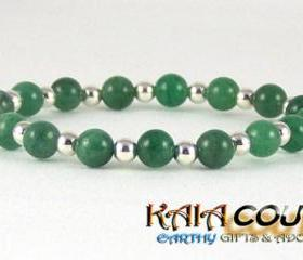 Creative Aventurine Comfort Bracelet with Sterling Silver accent beads, Free Shipping