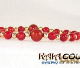 Sexual Carnelian Gemstone Bracelet with 14K Gold Filled accent beads