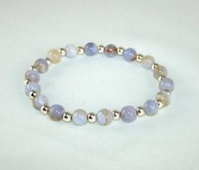Protective Blue Lace Agate Energy Bracelet with Sterling Silver Accent beads, Free Shipping