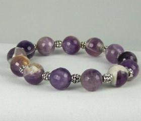 Powerful Agate Gemstones with Pewter Accent beads, Energy Bracelet, Meditation Bracelet, Free Shipping