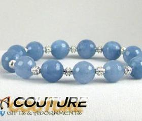 Grounding Blue Fire Agate Energy Bracelet with Silver Plated Accent beads, Comfort Bracelet, Yoga Inspired, Free shipping