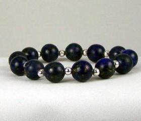 Lapis Energy Bracelet with Sterling Silver Accent Beads, Comfort Jewelry, Free Shipping, Great Gift Ideas