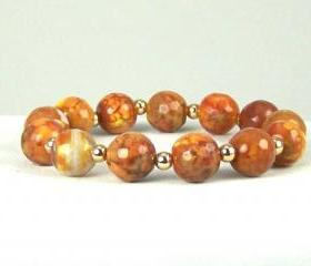 Protective Sun Kissed Agate Energy Bracelet with 14K Gold Filled Accent beads, Great Gift Ideas, Free Shipping