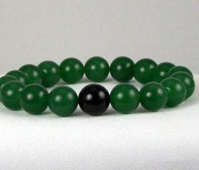 Prosperity Aventurine Energy Bracelet with Black Onyx Yogi Bead, Meditation Bracelet, Unisex, Free Shipping