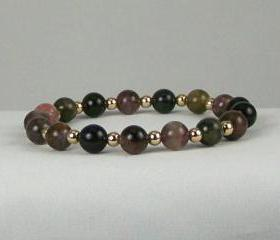 Lucky Tourmaline Energy Bracelet with 14K Gold Filled accent beads, Meditation Bracelet, Yoga Bracelet, Free Shipping