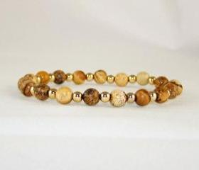 Loyalty Picture Jasper Meditation Bracelet SET with 14K gold Filled Accent Beads, Yoga Inspired, Free Shipping