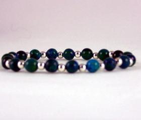 Clearing & Cleansing Azurite Comfort Bracelet with Sterling Silver Accent Beads, Energy Bracelet, Free Shipping