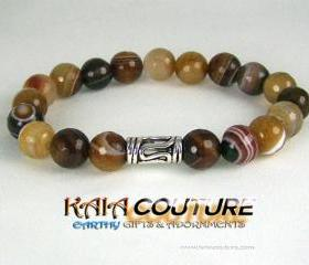 Power Agate Meditation Bracelet with Yogi Accent bead, Enegy Bracelet, Meditation Bracelet, Free Shipping