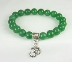 Prosperity Aventurine Meditation Bracelet with Ohm Charm, Yoga Bracelet, Energy Bracelet, Free Shipping