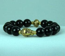 Defending Black Onyx Meditation Bracelet with Buddha and Yogi accent beads, Energy Bracelet, Yoga Bracelet, Free Shipping