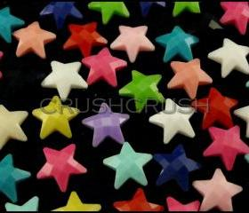 50pcs 11mm Mixed Color Faceted Star Flatback Cabochons Scrapbooking F603