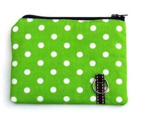 coin purse, padded in lime dots