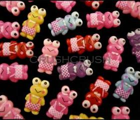 50pcs Keroppi Frog Big eyes Resin Flat Back Cabochons F593