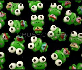 50pcs Keroppi Frog Big eyes With K dress Resin Flat Back Cabochons F592