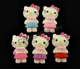 15pcs Hello Kitty Cats Bow With Japanese School Uniform Flat back Cabochons F591