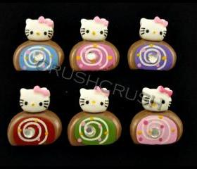 15pcs Hello Kitty Cream Roll CUPCAKE Desert Cabochons Flat back F584