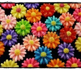 50pcs 10mm Tiny Resin FLOWER Flat Back Cabochons F580