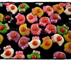 50pcs HELLO Kitty Cats Strawberry Flat Back Cabochons F579