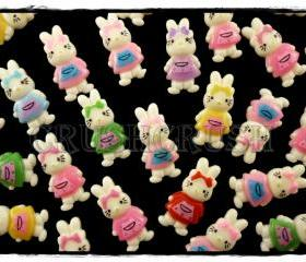 50pcs HELLO Kitty Cats Bunny Rabbit Bow Flat Back Cabochons F577