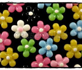  50pcs 11mm Tiny Resin FLOWER Flat Back Cabochons F574