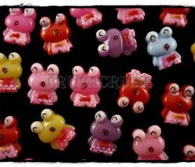 50pcs Keroppi Frog Big eyes Resin Flat Back Cabochons F573