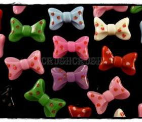 50pcs Resin Ribbon Bow Tie Strawberry FLAT BACK Cabochons F572