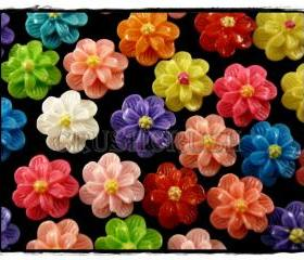 50pcs 11mm Resin FLOWER Flat Back Cabochons F571