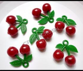 15pcs Plastic Sweet RED Cherry Charms Pendant Hanging Decoden DIY F701