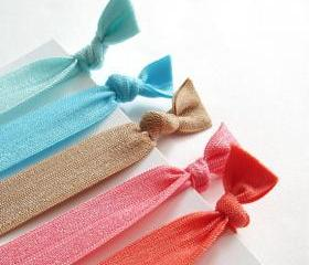 Elastic Hair Ties. Beach Set.