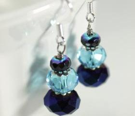blue and sliver glass drop earrings