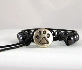 Optimistic Hematite Leather Wrap Bracelet with Paw Print Closure, Unisex, Great Gift Ideas, Free Shipping