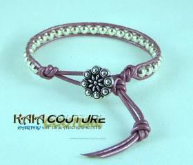 Sterling Silver Leather Wrap Bracelet with a Flower closure, Unique Guft Idea, Size 6.5, Free Shipping