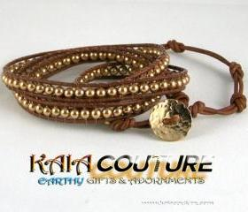 Swarovski Leather Wrap Bracelet with a 14K Gold-Filled handmade Circle closure, Great Gift Ideas, Free Shipping, Unique Gifts