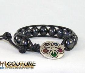 Unisex Hematite Leather Wrap Bracelet with Rembrandt closure, Unique Gift Idea, Great Christmas Present, Free Shipping